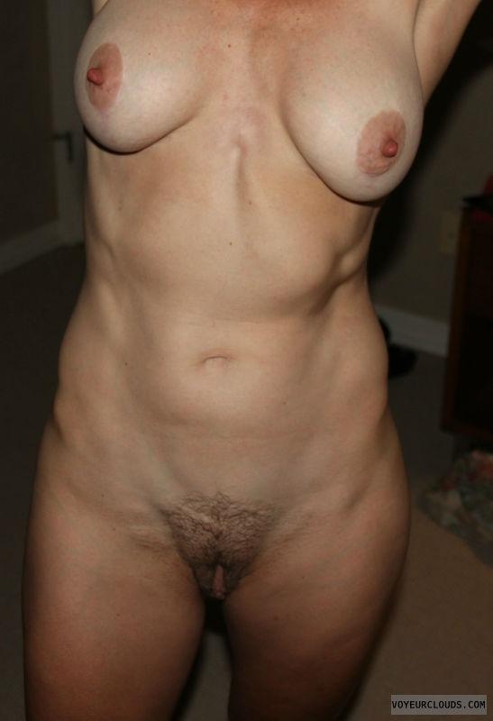 Big nipples, hard nipples, fully nude, hairy pussy