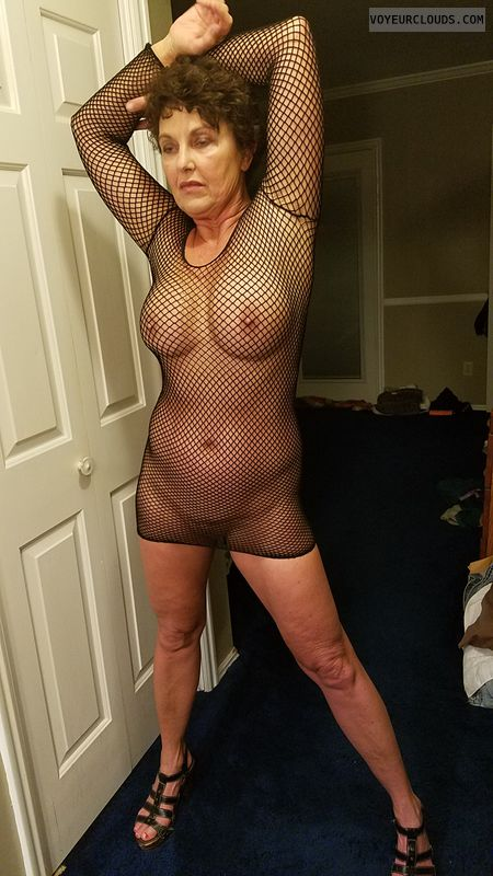 Fishnet dress, Sexy GILF, Enhanced boobs