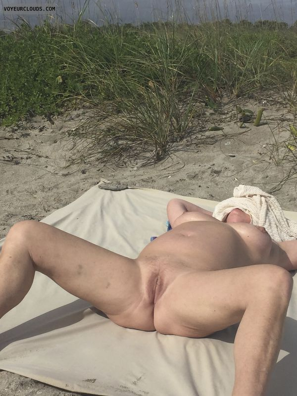 spread legs, shaved pussy, naked outdoors, small tits