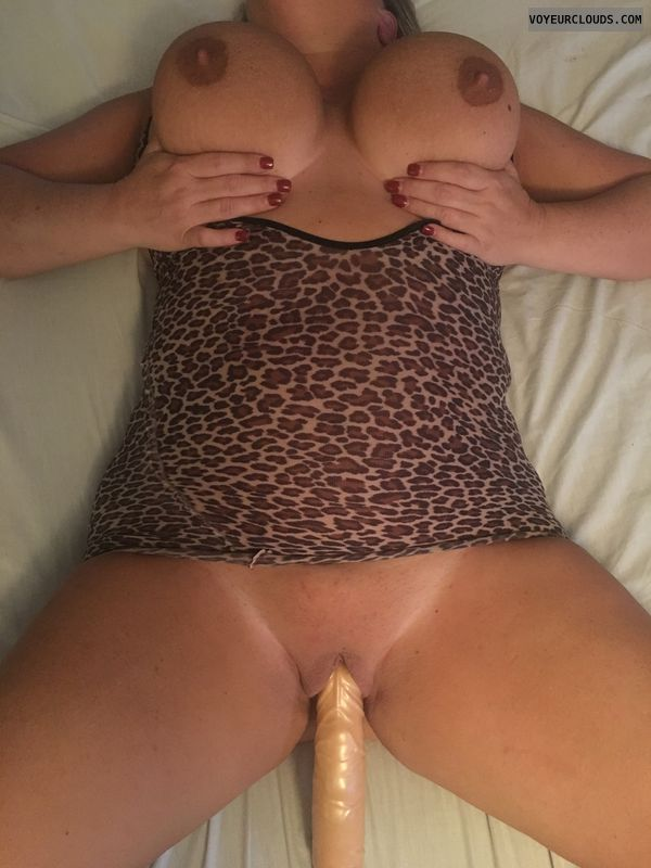 Big Tits, hand bra, bald pussy, sex toy, solo play