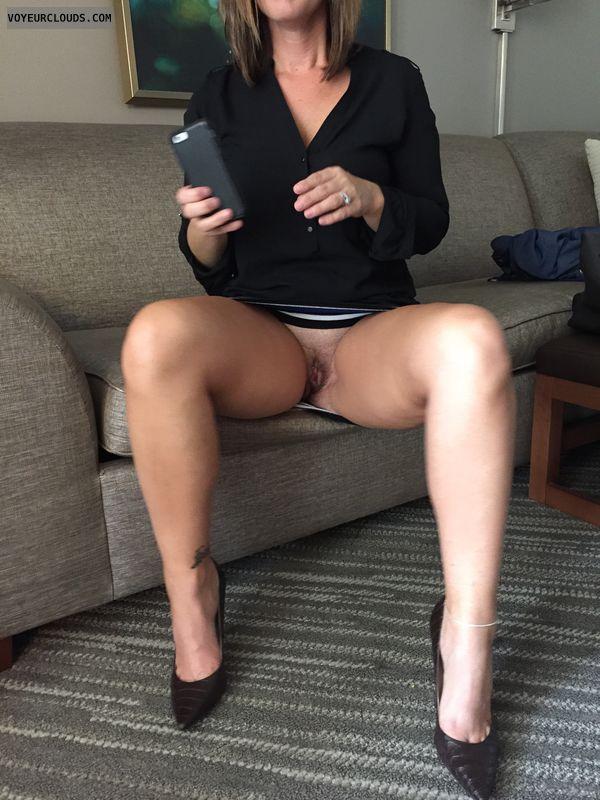 Open legs, milf, hotel, upskirt, tattoo, anklet, sexy heels