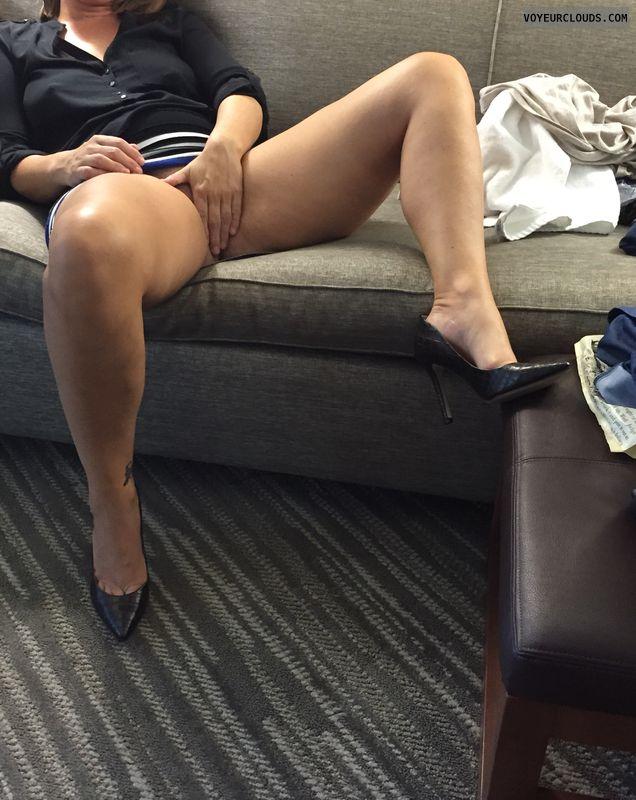 Milf, Legs open, Legs spread, Covered pussy, Sexy legs