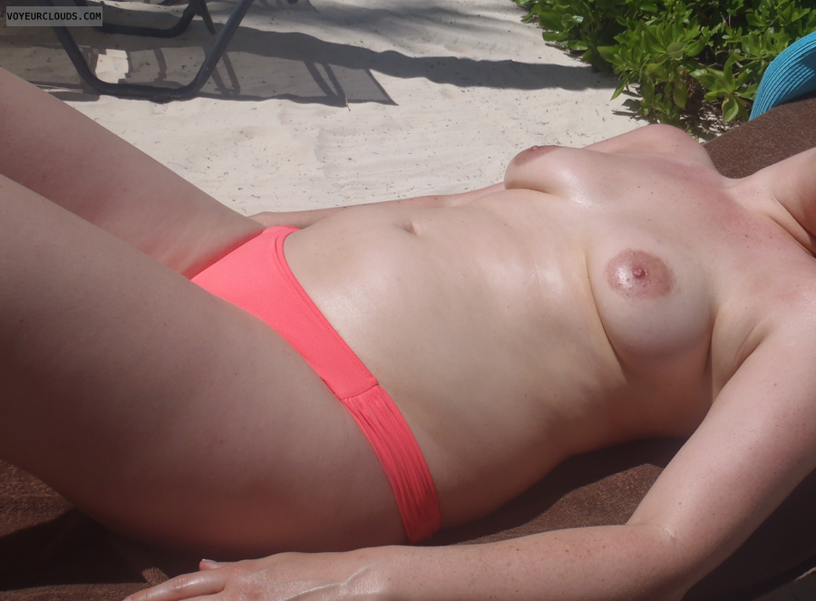 Topless, Wife tits, small boobs, hard nipples, Beach pic