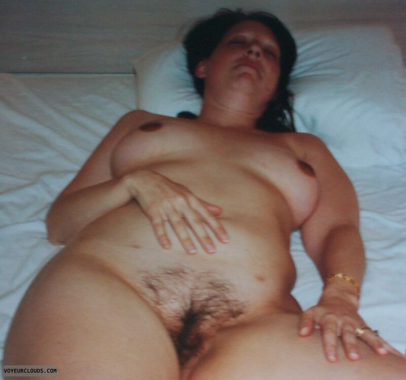 Hairy pussy, Small tits, bush, nude woman, relax