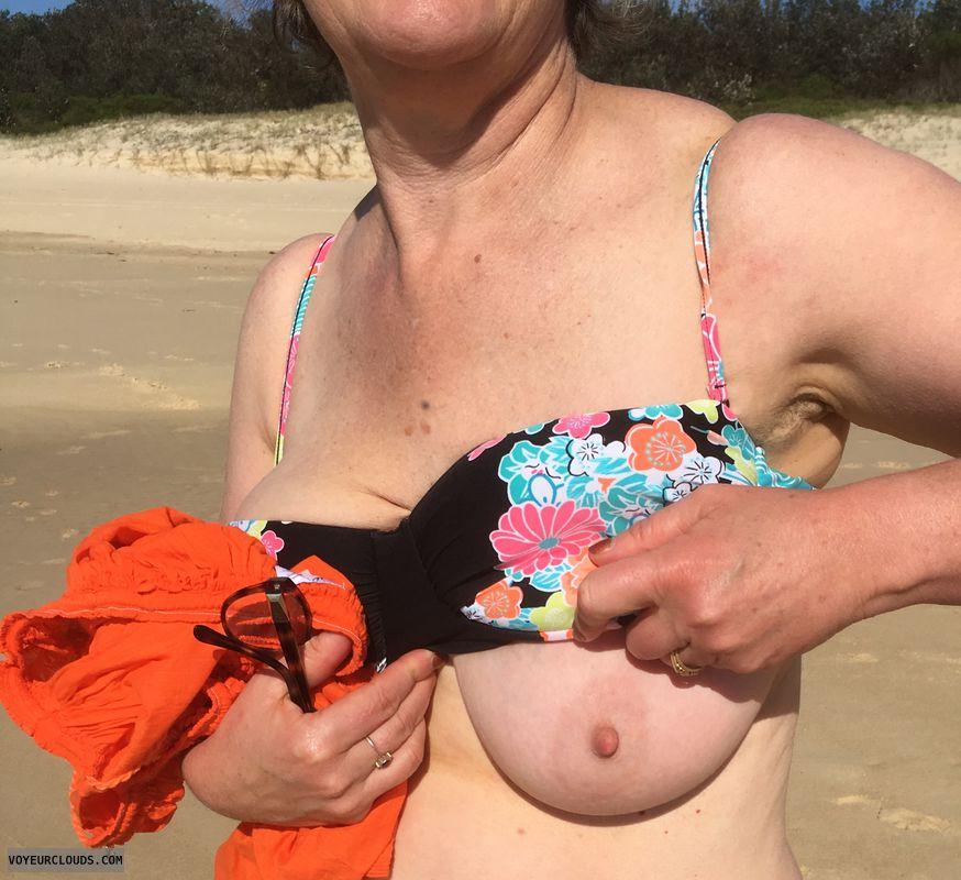 Beach, summer, bikini, DD\'s, erect nipple, big nipple