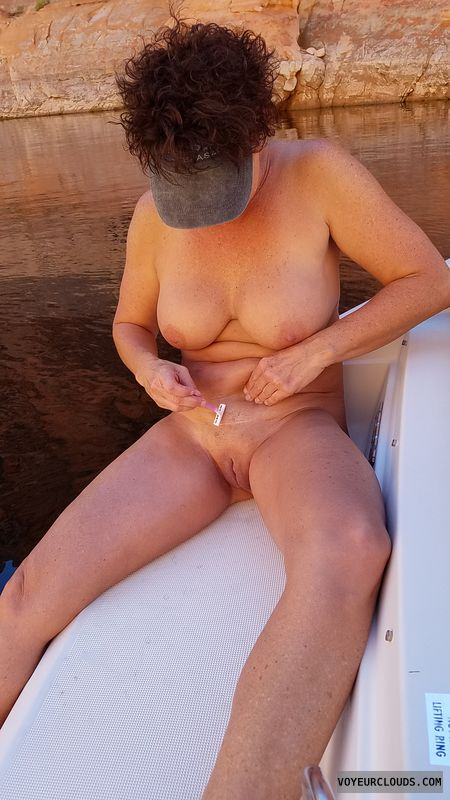 GILF nude, Bald beaver, Shaving pussy, Enhanced boobs