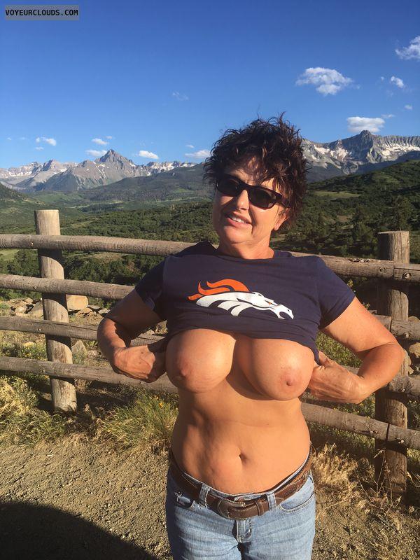GILF, boob flash, braless, Broncos, hard nipples