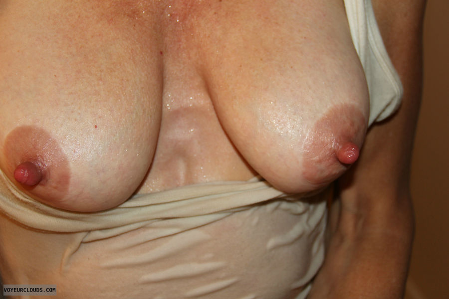 hard nipples, braless, medium tits, horny wife, tits out