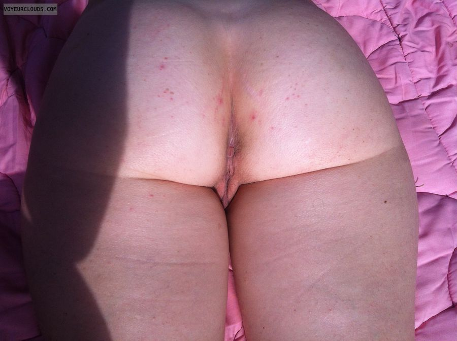 round ass, asshole, pussy peek, back view, nude outdoors