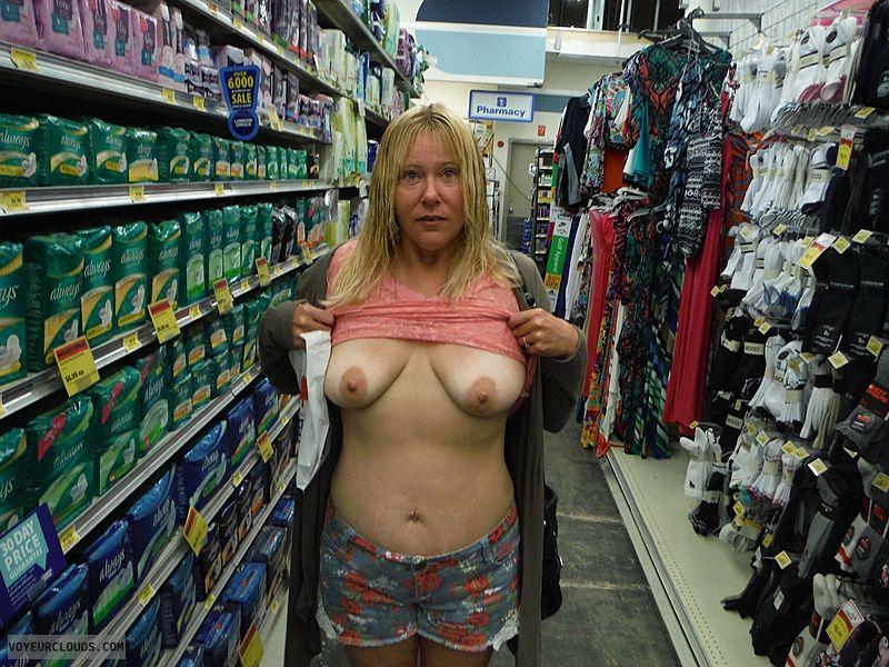 flashing tits, tits, nipples, public, braless, store flashing