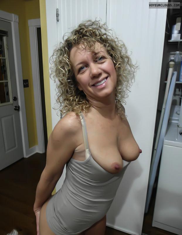 small tits, blonde milf, braless, tits out, hard nipples