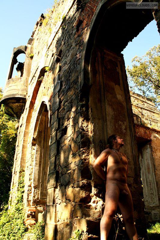 Nude male, public, outdoor, cock