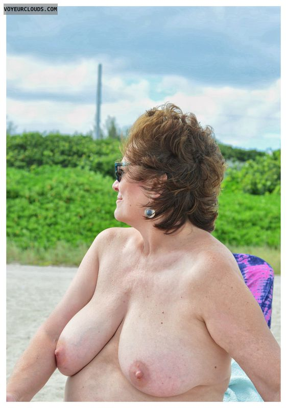 Big tits, milf, beach, outdoors, exhibitionist
