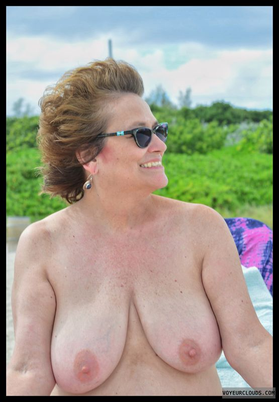Big tits, milf, nude beach, sexy smile, Haulover Beach