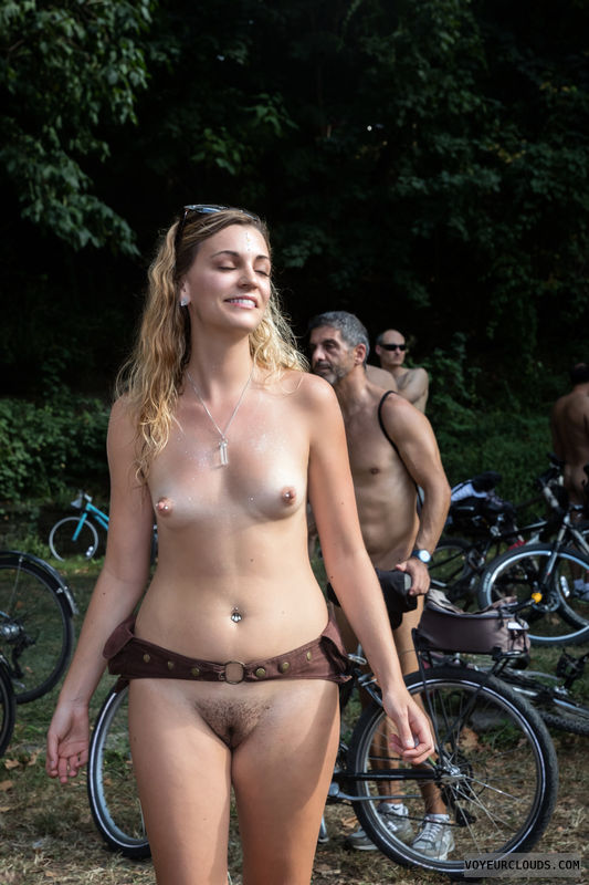 wnbr, small tits, hard nipples, trimmed