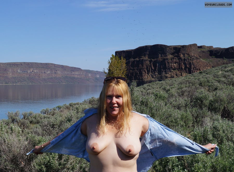 open top, tits, nipples, outside, lake shore