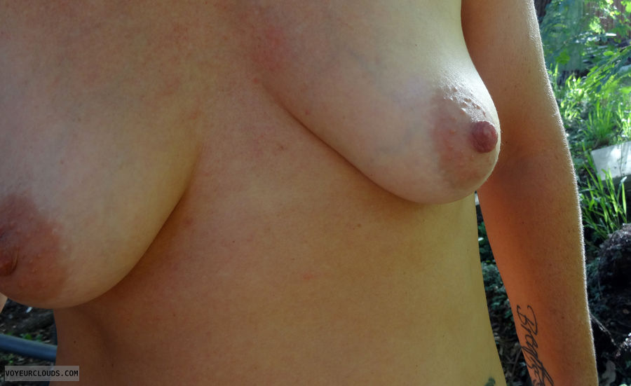 Tits outdoors, flashing out doors, nipples