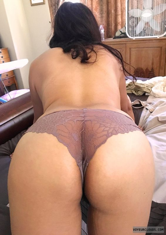 round ass, round butt, lace thong, topless, back view