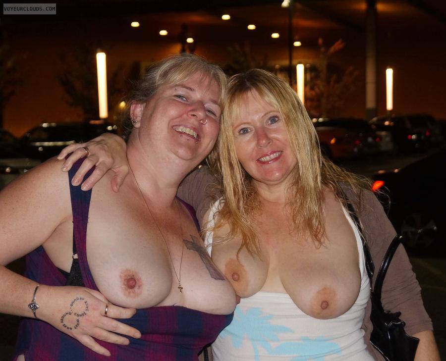 tits, 2 sets tits, top down, flashing tits