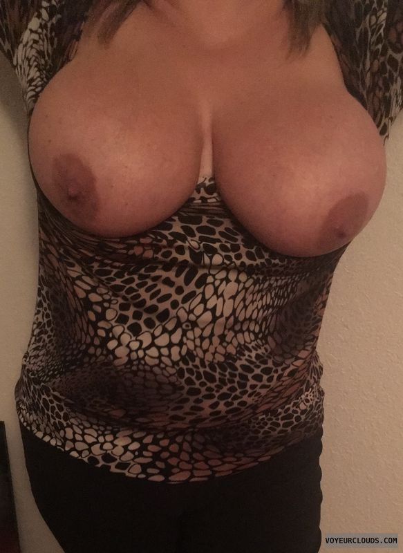 tits out, braless, milf boobs, hard nipples, selfie