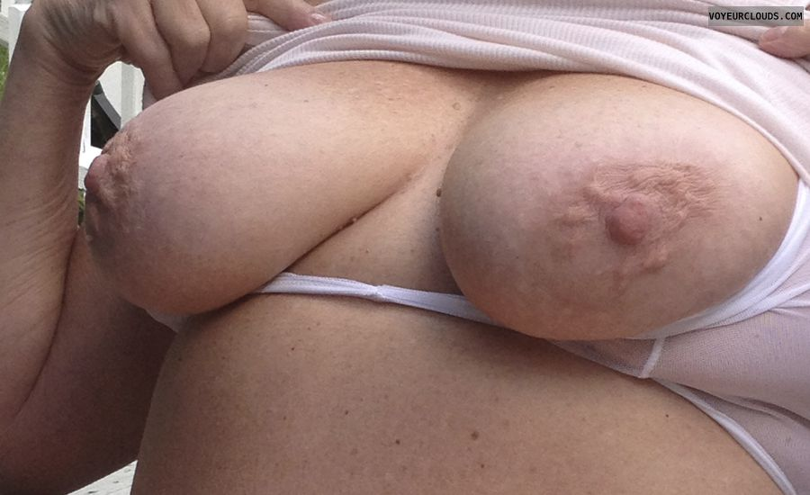tits out, pink nipples, hard nipples, erect, flash