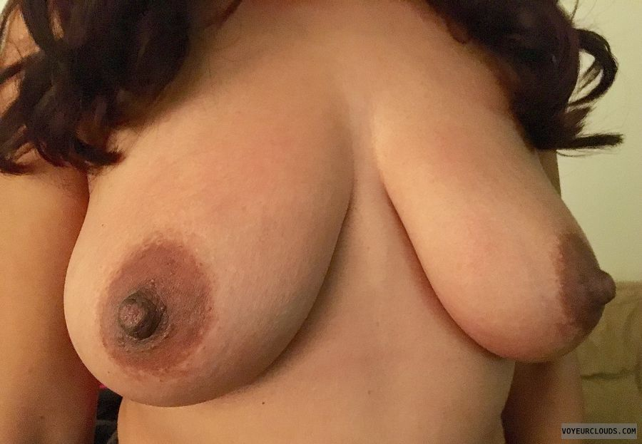 hard nipples, dark areolas, topless, big boobs, big tits