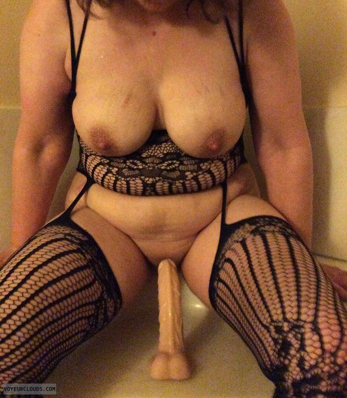 masturbation, sex toy, riding dildo, big tits, tits out
