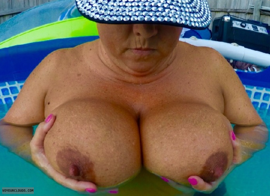 BigTits, BigTits in pool, sexy milf, hard nipples