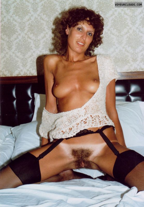 black stockings, full nude, little tits, hard nipples
