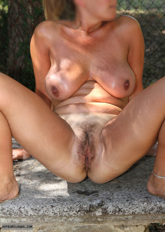 Pussy, hairy, tits, spread, milf, nude, outdoor