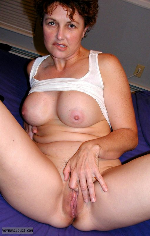 Sexy MILF, hard nipples, Enhanced boobs, shaved pussy