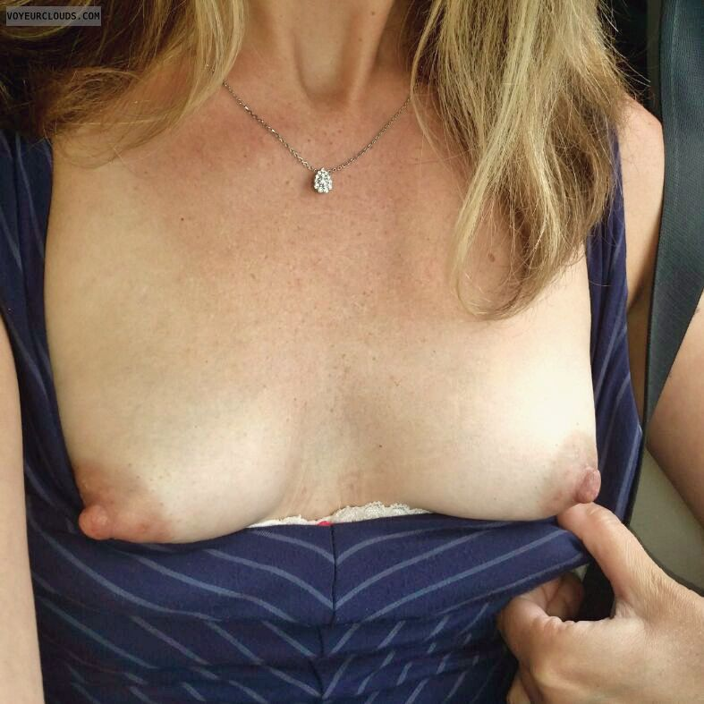 Flashing tits, small boobs, hard nipples, long nipples
