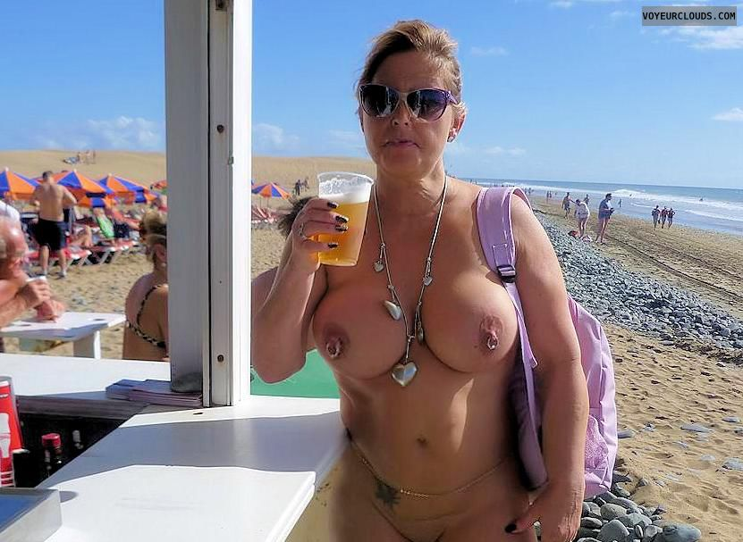 nudist, naked outdoors, big boobs, big tits, hard nipples