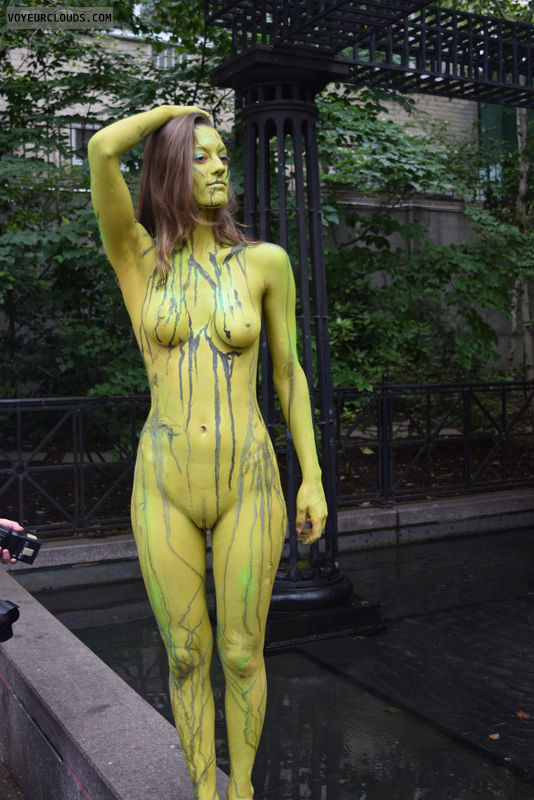 NYBPD, bodypaint, public, shaved, small tits, hard nipples
