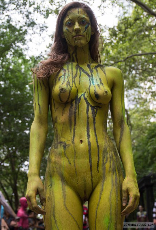 NYBPD, shaved, bodypaint, public, small tits, hard nipples