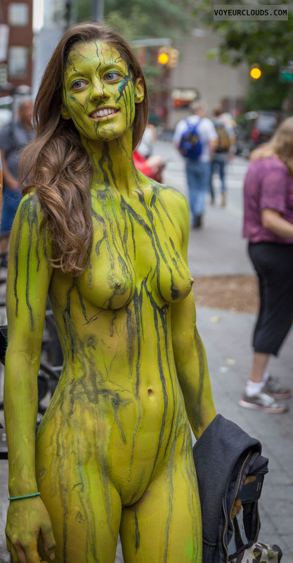 NYBPD, bodypaint, shaved, public, small tits, hard nipples