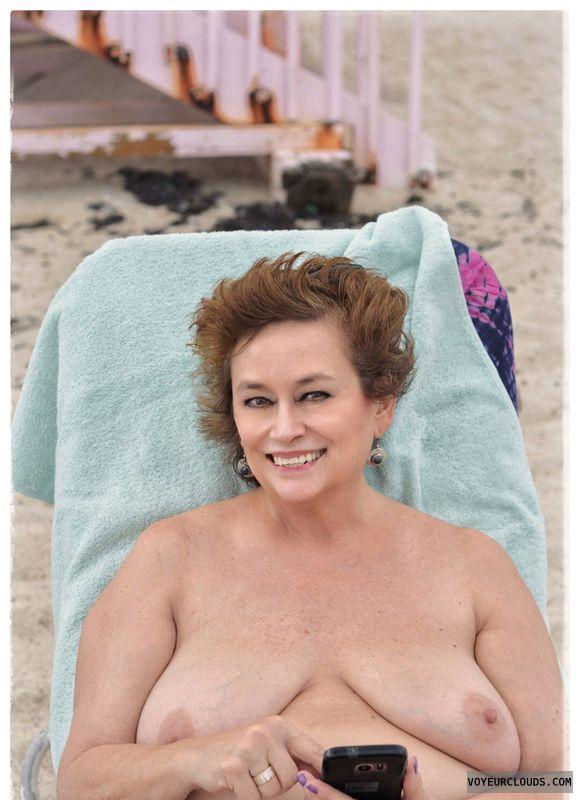 Big tits, milf, sexy smile, nude beach