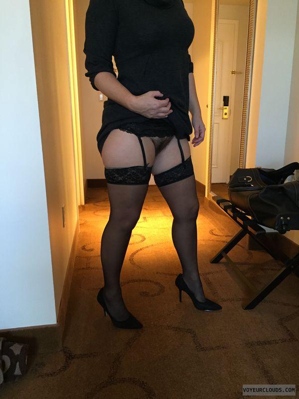 Pussy, Nylons, Garter belt, Sexy heels, High heels
