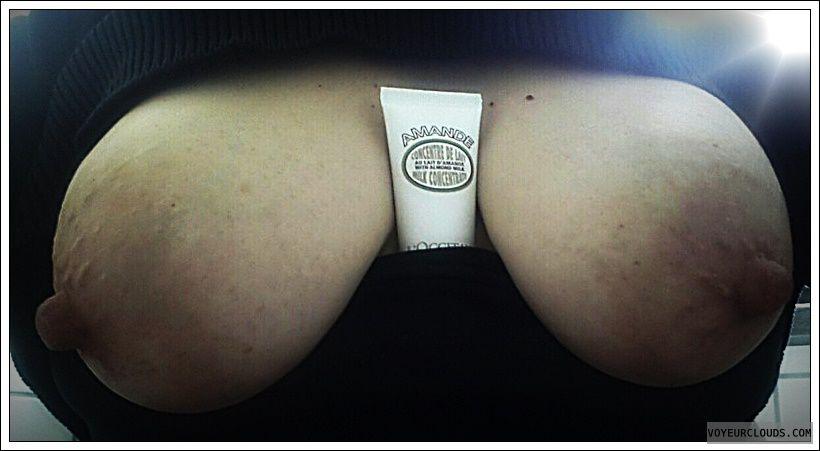 Tits out, wife boobs, milf tits, big boobs