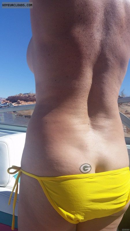 GILF ass, round ass, round butt, Topless boating