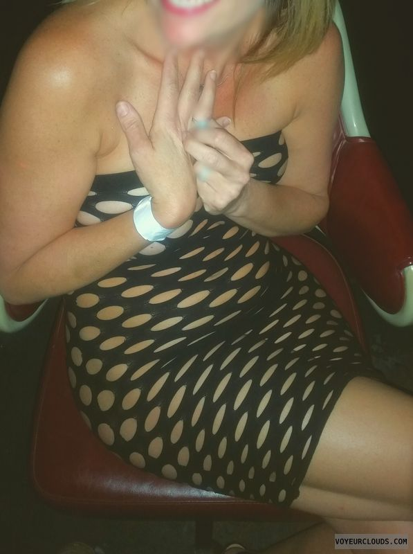 Fishnet, milf, wife, club, public, exhibitionist, lifestyle