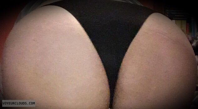 big ass, round ass, black thong, black panties