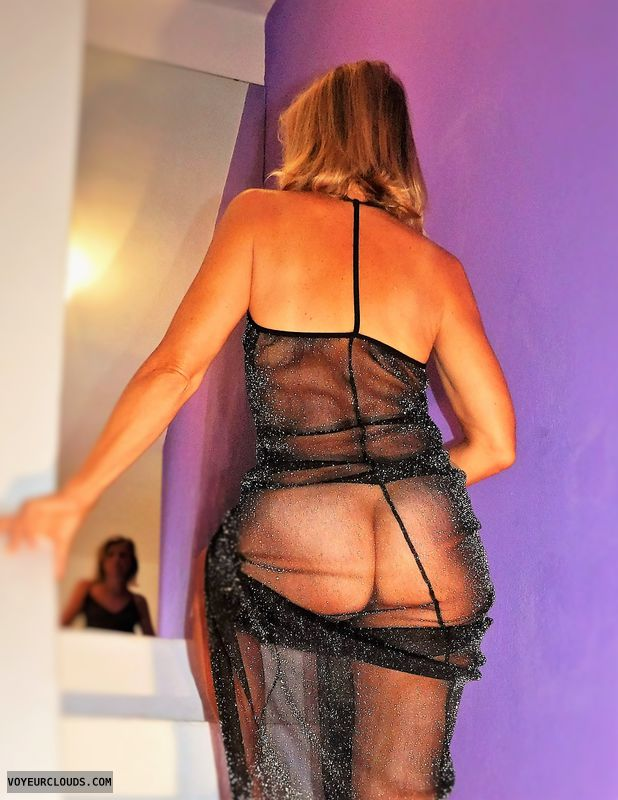 wife ass, sheer dress, round ass, round butt