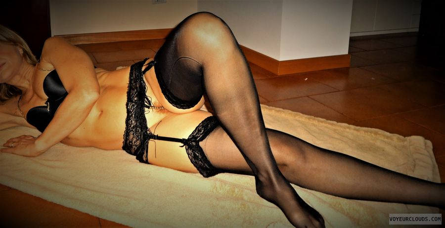 anna, wife, garters, lingerie, stockings, bush
