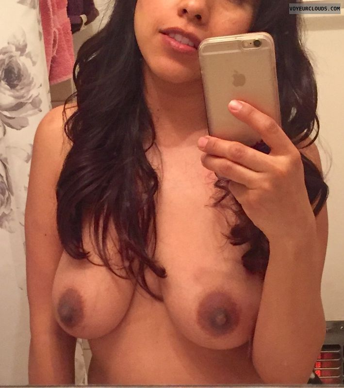 topless, dark areolas, hard nipples, medium tits, selfie