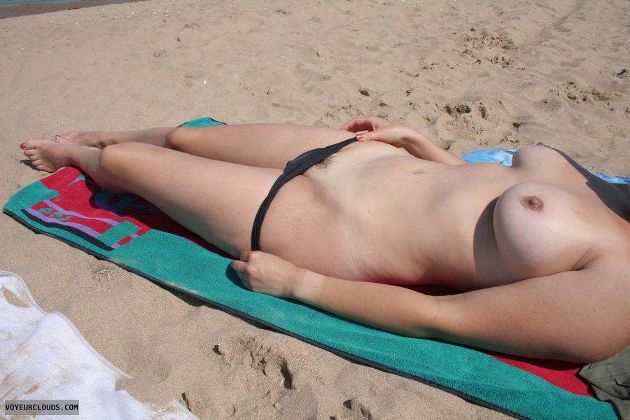 Topless, beach, milf, tits