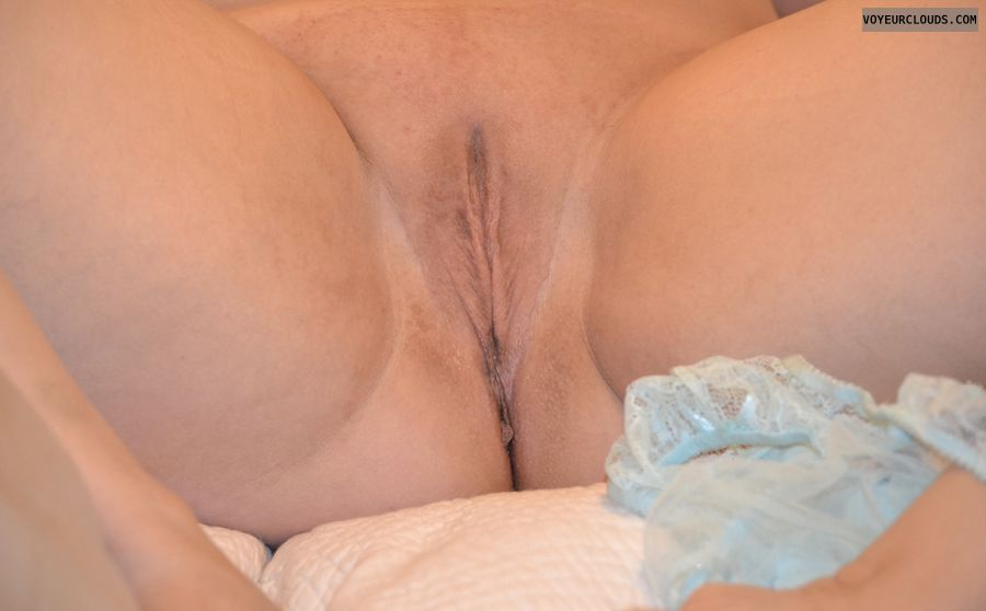 Shaved pussy, pussy, wet, legs spread, panties