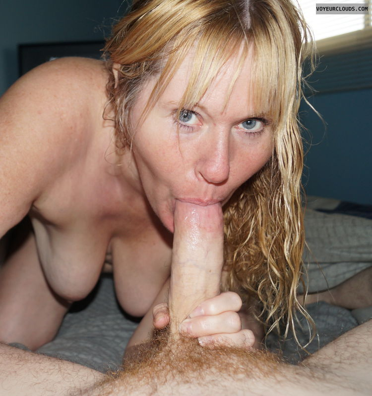 blow job., cock sucking, sucking cock, top less, hanging tits