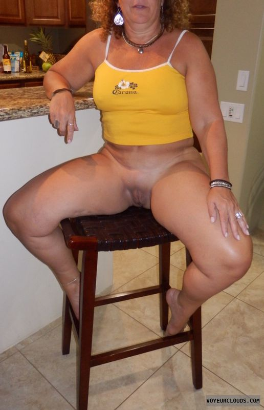 bottomless, milf, hot wife, smooth pussy, spread legs