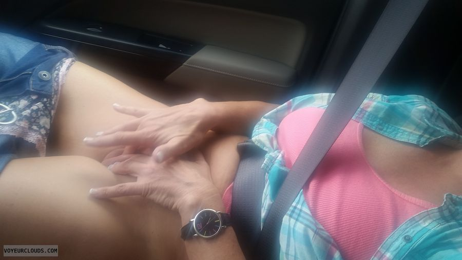 Fingering pussy, masturbation, Car masturbation, car ride